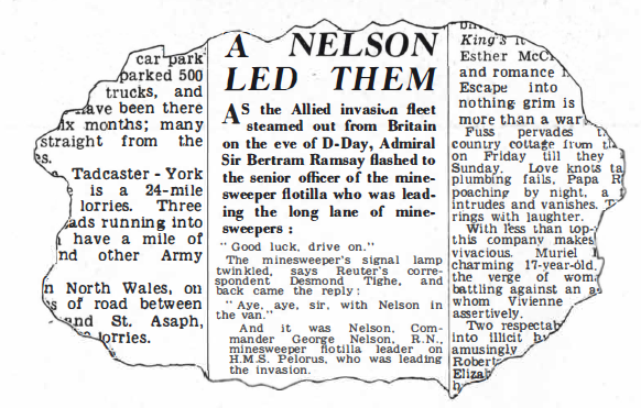 HMS Pelorus news paper article