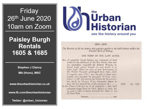 Online History Cafe 2  – 26 June 2020: Paisley Rentals 1605 & 1685